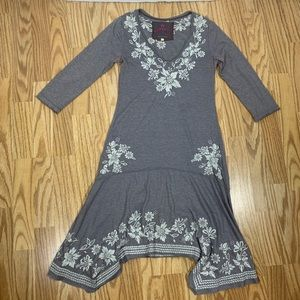 Johnny Was gray embroidered boho dress